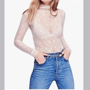 Free People mock-neck lace ivory top